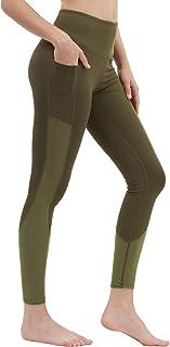 DIELUSA Women Yoga Pants High Waist Legging with Tummy Control Mesh Tights Non See Through