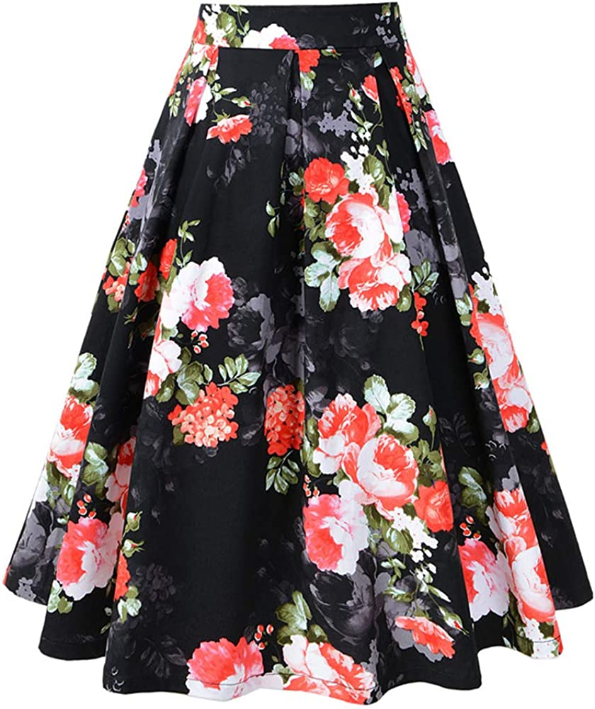 FOURSTEEDS Women's Floral Print Knee Length Cotton A-line Swing Pleated Casual Skirt