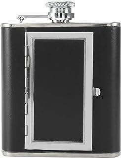 Cigarette Case Stainless Steel Flagon Design Bottle Portable Hard Box & Holder(Black)
