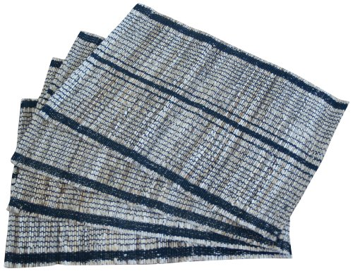 Leaf & Fiber Hand Made All Natural Sustainable and Eco-Friendly Placemats, Banana Fiber/Cotton, Set of 4