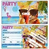 12er Set PARTY-KATZE Einladungskarten - lustige Premium Einladung zum Kinder-Geburtstag oder Party für Jungen Mädchen & Erwachsene von BREITENWERK