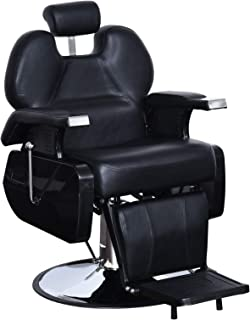 BarberPub Heavy Duty Reclining Barber Chair All Purpose Hydraulic Salon Chair for Barbershop Stylist Tattoo Chair 2687 (Black)