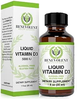 Vitamin D3 Drops 5000 IU - Potent & Effective 1000 IU per Drop - Fast Absorbing Liquid Dietary Supplement - 100% Alcohol & Gluten Free