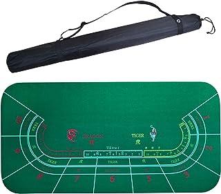 ポータブルポーカーテーブルトップテーブルクロスドラゴン&タイガーバカラレイアウトカジノポーカーグリーンテーブルマットボードクロス収納バッグ付き(180 * 90M)