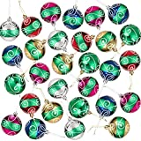 Adornos de bola de árbol de Navidad con purpurina (6 colores, 2,6 pulgadas, 24 unidades)