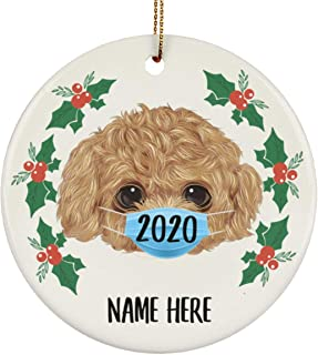 Lovesout Funny Personalized Name Toy Poodle Water Color Quarantine 2020 Christmas Tree Ornament White Circle Ceramic