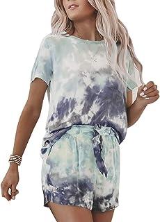 Yying Conjunto de Pijama Estampado Tie Dye para Mujer Camiseta sin Mangas y Pantalones Cortos con Volantes Pantalones PJ S...