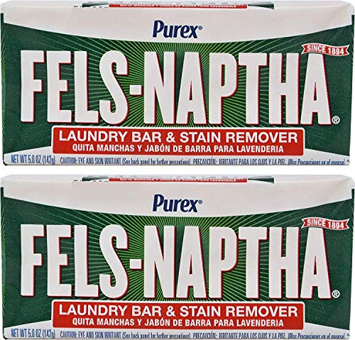 Fels Naptha Laundry Soap Bar & Stain Remover - Pack of 2, 5.0 Oz per bar
