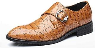 PRAFN Zapatos Oxford Hombre Zapatos de Cuero Hebilla Brogue Vestir Derby Informal Negocios Boda Calzado Respirable