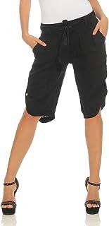 Mississhop Damen Capri 100% Leinen Bermuda lockere Kurze Hose Freizeithose Shorts mit Gürtel und Knöpfen