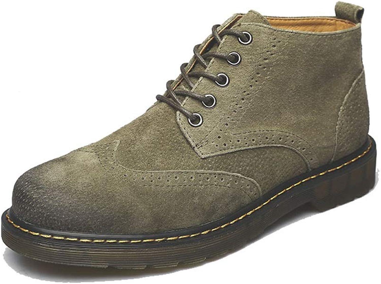JIALUN-Schuhe Mnner Klassische Mode Stiefeletten Casual Retro Bequeme und tragbare Stiefel (Warmer Samt optional) (Farbe   Grün, Gre   44 EU)