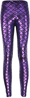 QZUnique Women's Digital Print Mermaid Fish Scale Stretch Wet Look Scales Style Leggings Pant