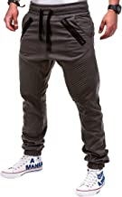 Uni Clau Mens Fashion Joggers Athletic Pants - Slim Fit Sweatpants Trousers with Zippered Pockets