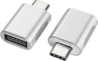 nonda USB C to USB Adapter(2 Pack),USB-C to USB 3.0 Adapter,USB Type-C to USB,Thunderbolt 3 to USB Female Adapter OTG for MacBook Pro 2019/2018/2017,MacBook Air 2018,and More Type-C Devices(Silver)