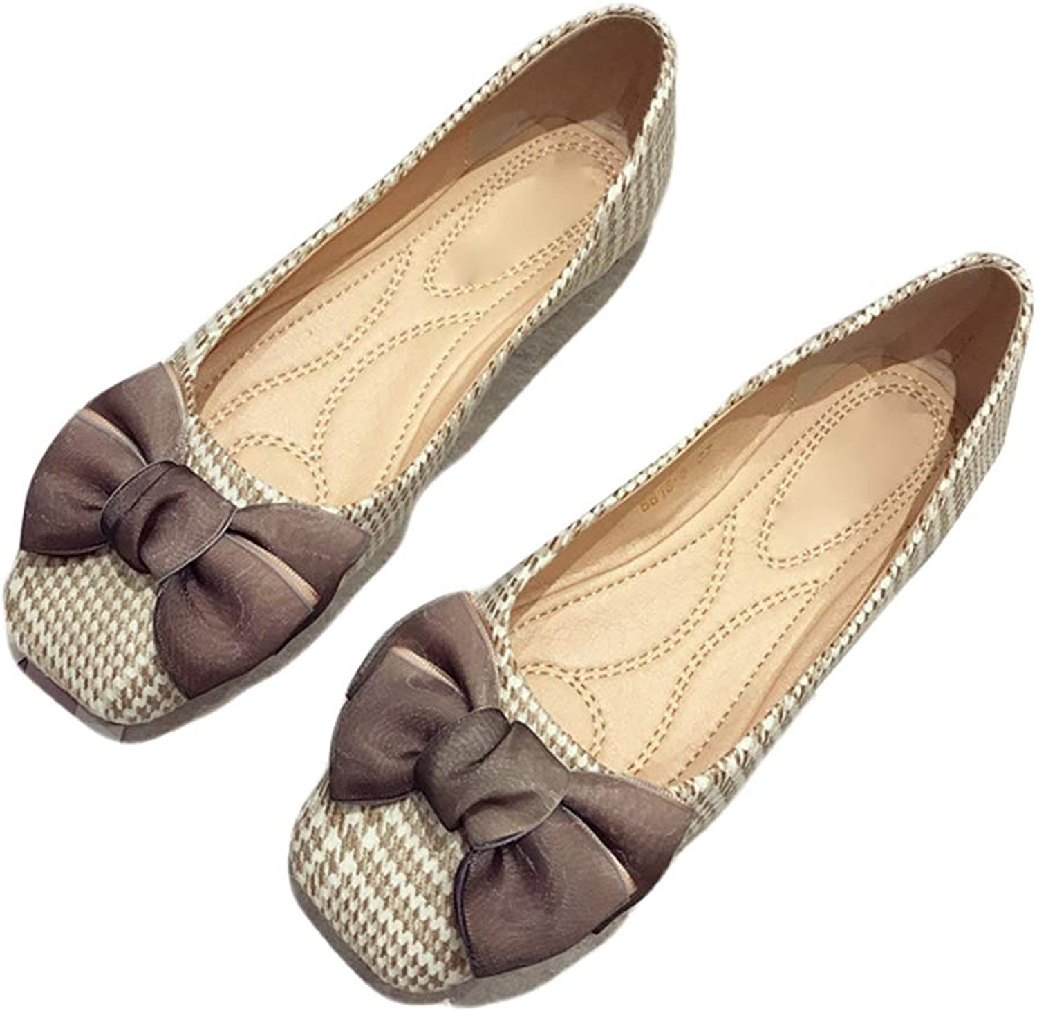 Kyle Walsh Pa Women Ballet Flats shoes Bow-Knot Square Toe Laides Soft Office Driving Footwear