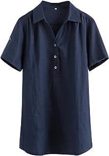 IXIMO Women's 100% Linen V Neck Blouse Short Sleeve Pullover Tunic Tops Shirts