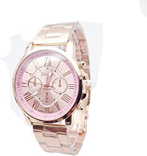 Geneva Mens Womens Unisex Stainless Steel 2380-Gold-GEN Gold Tone Classic Faux Chronograph Analog Quartz WristWatch-PINK Face