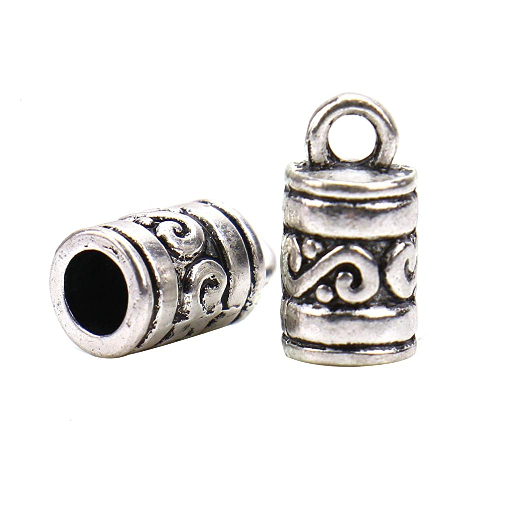 Monrocco 50 Pcs Antique Silver Metal Rope End Caps Cord Ends Fasteners Clasp Leather Crimp Ends Necklace Clasp for Jewelry Making