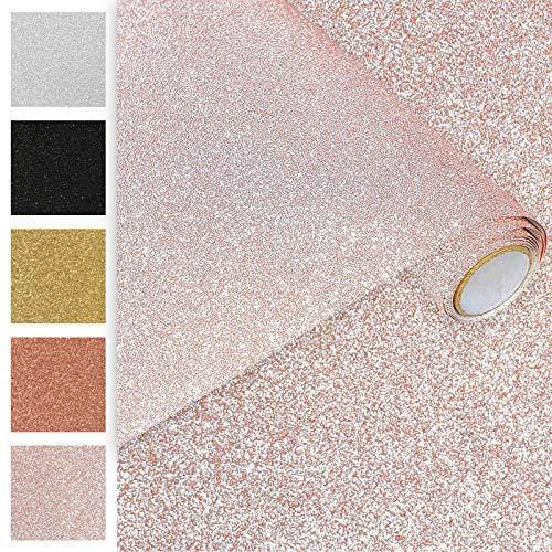 Askol DecoMeister Klebefolien Deko-Folien Selbstklebefolie Möbelfolie Selbstklebend Glitzernd Einfarbig Einheitliche Glitter-Farbe 45x150 cm Glitzer Rosa