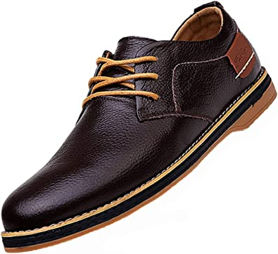 Amazon.com | TSIODFO Men's Dress Shoes Black Brown Genuine Cow Leather  Oxfords Business Casual Shoes | Oxfords