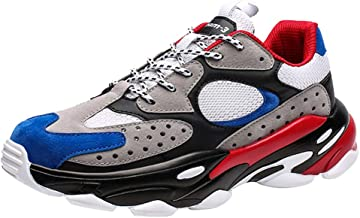Mosunx Athletic Causal Chunky Sneakers Men, 【Mesh Breathable Thick Sole Arch Support 】 Shoelaces Non-Slip Snekers for Trail Running Gym Walking