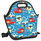 Women&Men&Kids Cartoon Car Lunch Bag Soft Tote Bag Insulated Lunch Box Shoulder Strap Leak-Proof...
