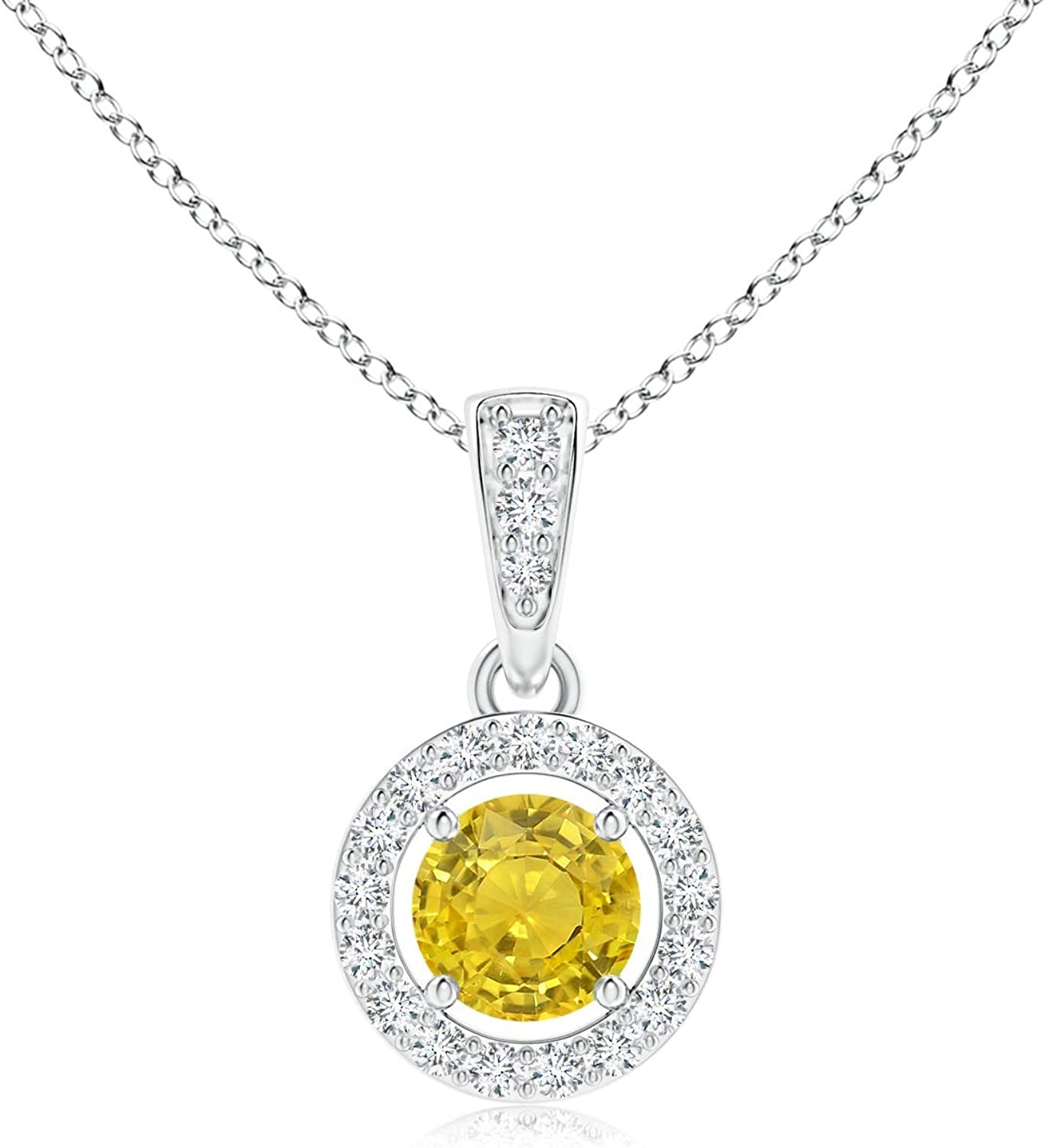 NEW Max 90% OFF Floating Yellow Sapphire Pendant with Platinum in Halo Diamond