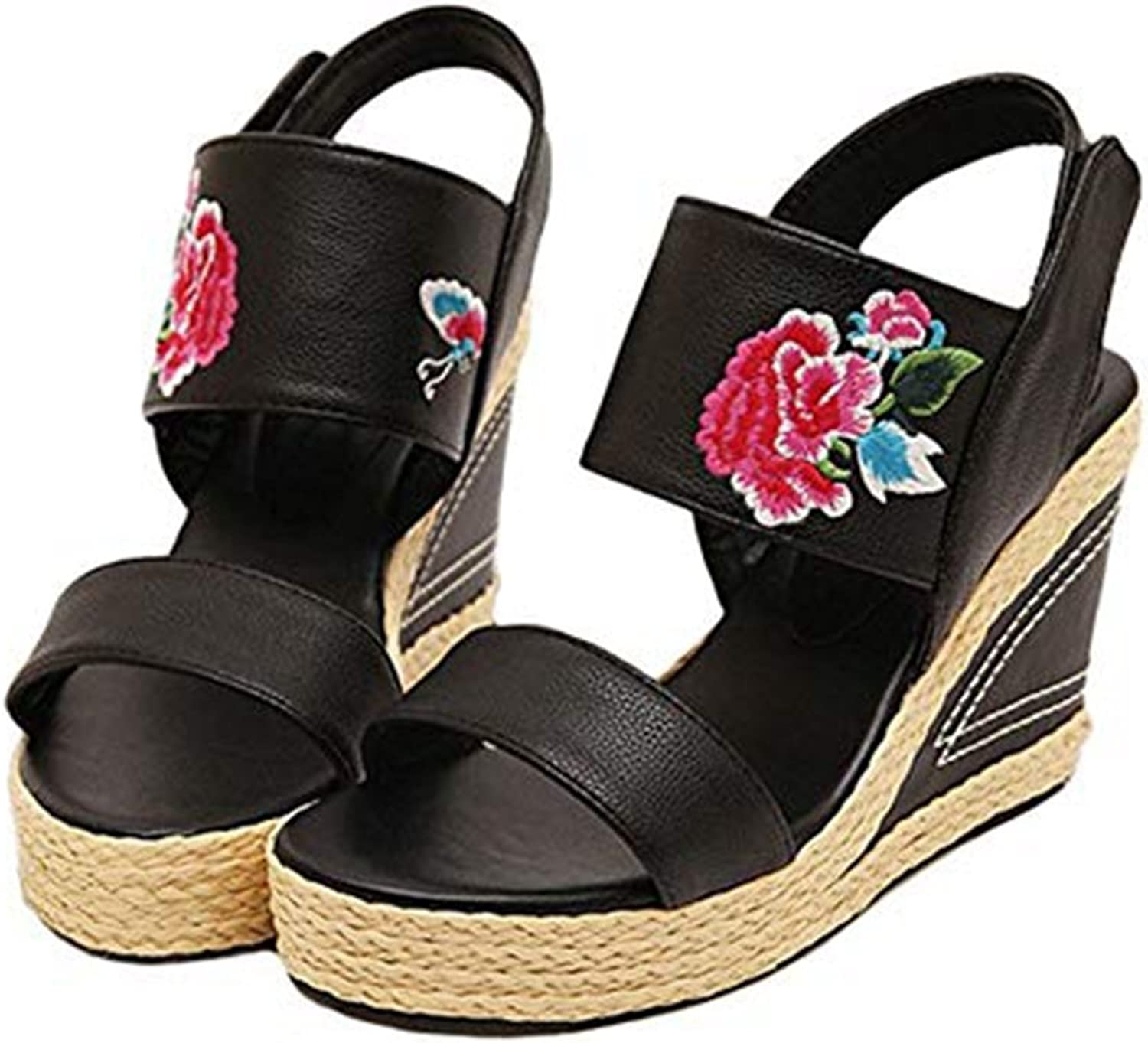 T-JULY Women's Classical Handmade Embroidered Flower Loafers Espadrilles Wedge Platform High Heels Retro Sandals Slippers