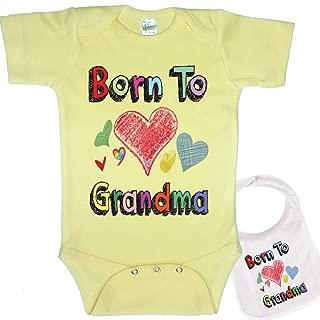 Born to Love Grandma Cute Baby Bodysuit Onesie & Matching bib