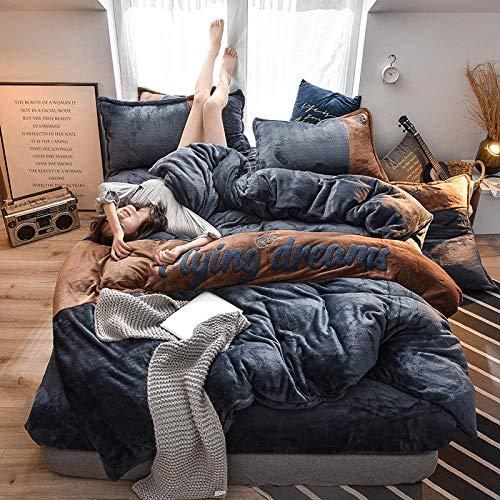 Textile Soft Teddy Bear Fleece Duvet cover with Pillowcases,home Fleece bedding set,bed linen Flannel winter bed set duvet cover set double super king Dark gray 200 * 230cm(4pcs)