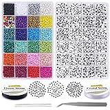 EuTengHao Juego de 6810 cuentas pequeñas de cristal y letras para hacer pulseras de joyería con cadena de 0,8 mm, cuentas de semillas de cristal de 4 mm