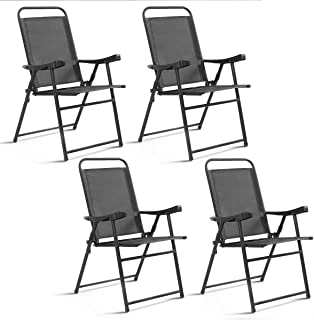 Giantex 4 Packs Folding Chairs Patio Sling Chairs Outdoor Portable Chairs Furniture Camping Pool Beach Deck Dining Chairs with Armrest