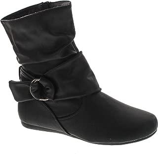 Selena-58 Women's Fashion Mid Calf Flat Heel Side Zipper Slouch Boots
