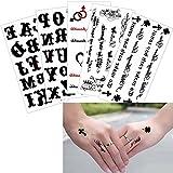5 Sheets Letter Decal Temporary Body Finger Wrist Art for Women Men Fake Black Tattoo Sticker