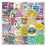 Pegatina inspiradora de personalidad con graffiti inglés para motocicleta, portátil, coche, nevera, guitarra, decoración, 50 unidades