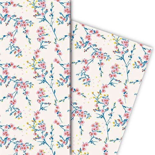Kartenkaufrausch delicate bloemen cadeaupapier set met hibiscus bloesemtakken, roze • nobele geschenkverpakking 32 x 48 cm, 4 vellen voor verjaardagen, bruiloft, kerstcadeaus, decoratief papier