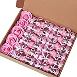 MACTING 2 Dozens 3.5 Inch Feeding Bottle Candy Box with 5 Pcs Artificial Flower Rose for Baby Shower Favor Gift Decoration (Pink)