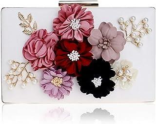 GLJJQMY Evening Bag Lady Flower Banquet Bag Fashion Evening Dress Clutch Bag Wallet Cosmetic Bag Evening Bags (Color : White, Size : 20x12x4cm)