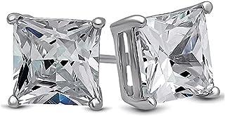 Sponsored Ad - Body Fashion Surgical Steel Square Basket Set Crystal Diamond Unisex Men's Stud Earrings,4mm