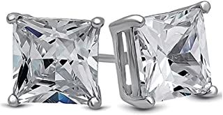 Surgical Stainless Steel Studs Earrings Men, Women, Girls, Boys Square Princess Cut Basket Setting Cubic Zirconia Hypoallergenic Earrings WITH A FREE GIFT ROUND STUDS EARRINGS