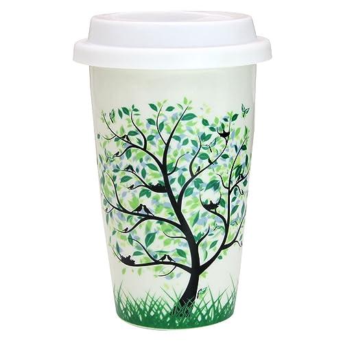 Tasse à Café Mug Isotherme, Bidear Double Isolé Céramique Tasse à Thé Voyage Tasse à Emporter pour Espresso Boissons Chaudes