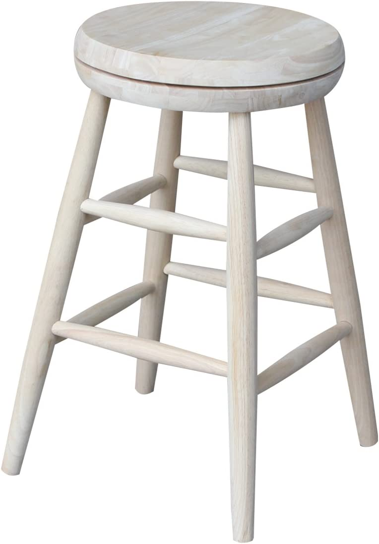 International Concepts New mail order Swivel Stool Barstool 24 Max 66% OFF Unfinishe inch