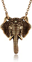 Karseer Necklace Vintage Lucky Elephant with Lotus Mark Pendant Spirit Animal Necklaces Gift Jewelry for Christmas Birthday Friendship Weddings or Celebration for Men Women