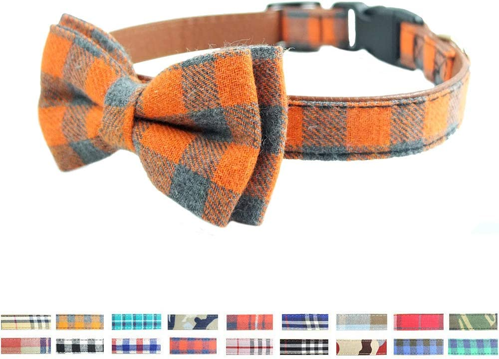 Bow Max 57% OFF Tie Direct sale of manufacturer Dog Collar - Plaid Cute Sturdy Soft MaterialLeather