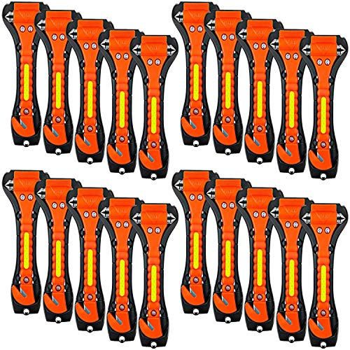 ZHSX 20 Pack Car Safety Hammer 2 in 1 Car Escape Tool Seatbelt Cutter and Car Window Glass Hammer Breaker for Home Rescue and Car Emergency Escape Tools