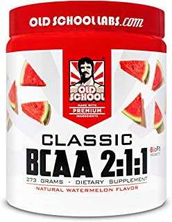 Old School Labs Classic BCAA 2:1:1 - Branched-Chain Amino Acids for Lean Muscle and Recovery with BioFit Probiotics - Natural Watermelon Flavor Makes for a Delicious Drink During Any Activity - 273