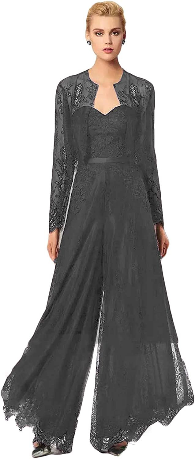 Xixi House Chic Lace Jumpsuit Mother of The Bride Pant Suits Wedding Guest Gowns with Jackets Plus Size Mothers Groom Sets
