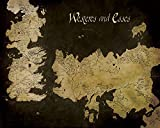 Game Of Thrones 'Mapa de Westeros y Essos Mapa Antiguo Lienzo Impresiones, Multicolor, 40x 50cm