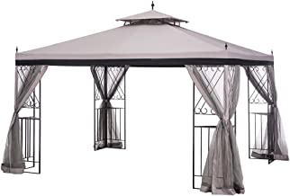 Sunjoy L-GZ288PST-4H 10' x 12' Parlay Gazebo with Netting, Gray with Black