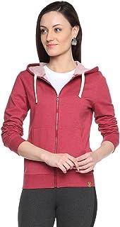 Campus Sutra Maroon Womens Zipper Hoodie